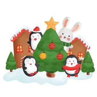 Cartão de feliz natal com um bonito pinguins na cidade de neve.
