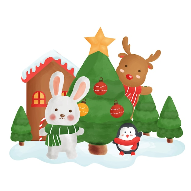 Cartão de feliz natal com um coelho e amigos na cidade de neve.