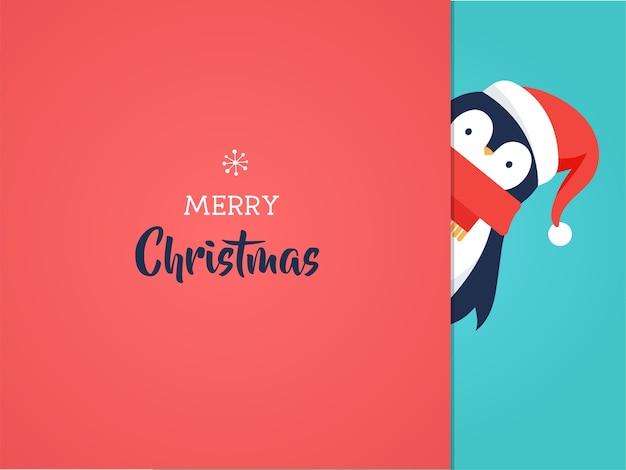 Cartão de feliz natal com um doce pinguim bebê