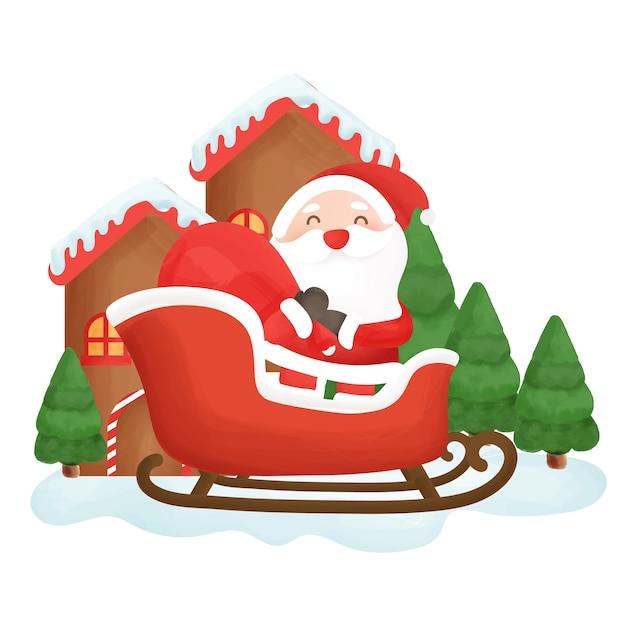 Cartão de feliz natal com um lindo papai noel na cidade de neve.