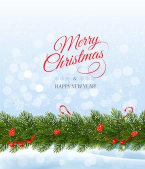 Cartão de feliz natal com uma fita e galho de árvore de natal