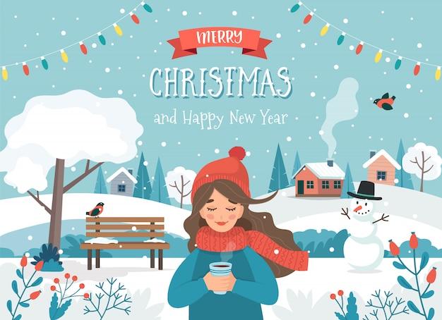Cartão de feliz natal com uma garota e uma paisagem bonita.