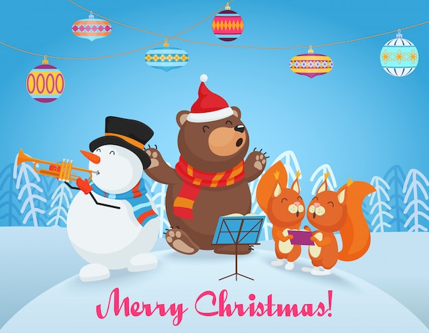 Cartão de feliz natal com urso fofo, boneco de neve e dois amiguinhos raposa cantam músicas juntos. feliz natal.