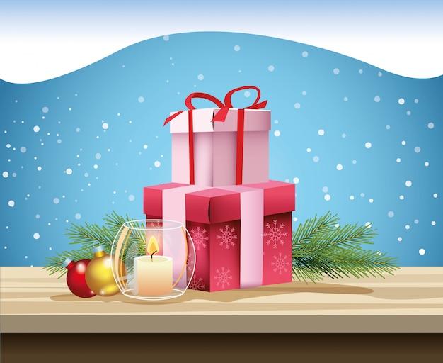 Cartão de feliz natal com vela e presentes vector design ilustração