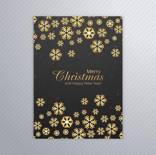 Cartão de feliz natal com vetor de design de brochura de floco de neve