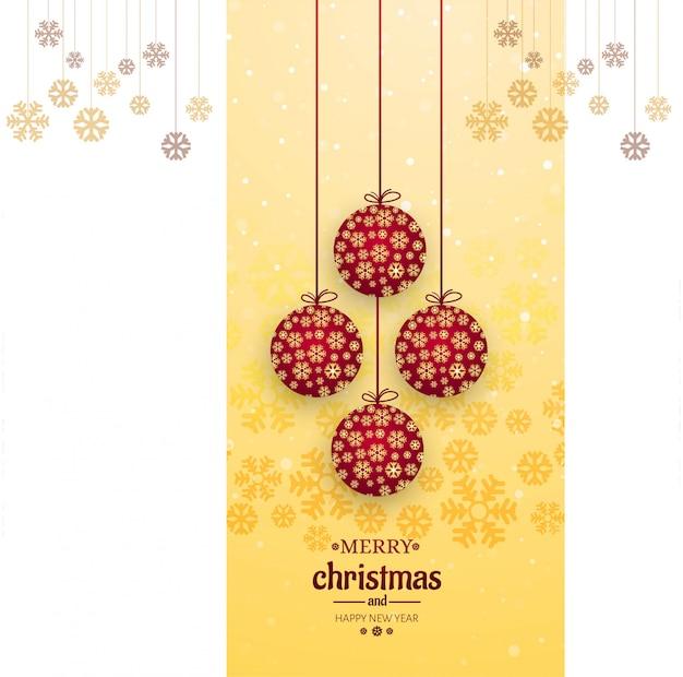 Cartão de feliz natal com vetor de fundo bola decorativa