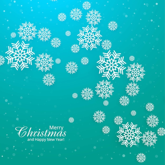 Cartão de feliz natal com vetor de fundo floco de neve