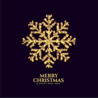 Cartão de feliz natal de floco de neve dourado espumante