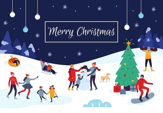 Cartão de feliz natal de pessoas de inverno. atividades de neve, crianças felizes fazem boneco de neve e ilustração vetorial de cartão postal de férias de natal