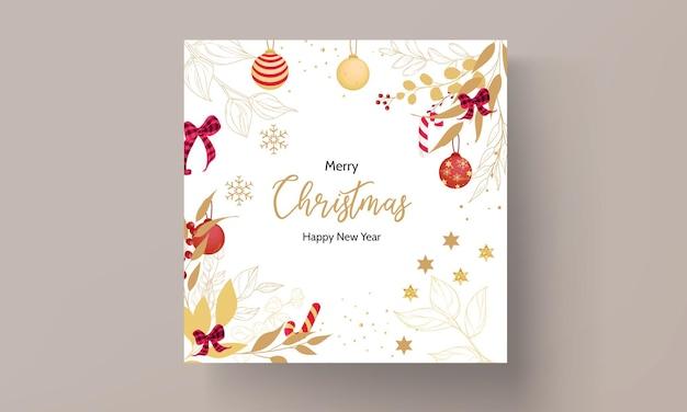 Cartão de feliz natal desenhado à mão de luxo