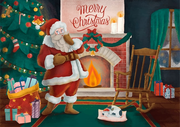 Cartão de feliz natal desenhado à mão