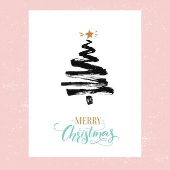Cartão de feliz natal design minimalista. abeto simples esboçado e texto feliz natal