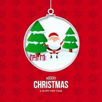 Cartão de feliz natal e ano novo com bola e paisagem de natal