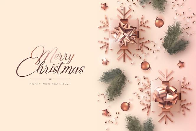 Cartão de feliz natal e ano novo com decoração realista