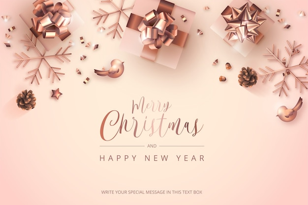 Cartão de feliz natal e ano novo com decoração rosa dourada