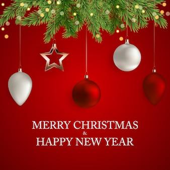 Cartão de feliz natal e ano novo Vetor Premium
