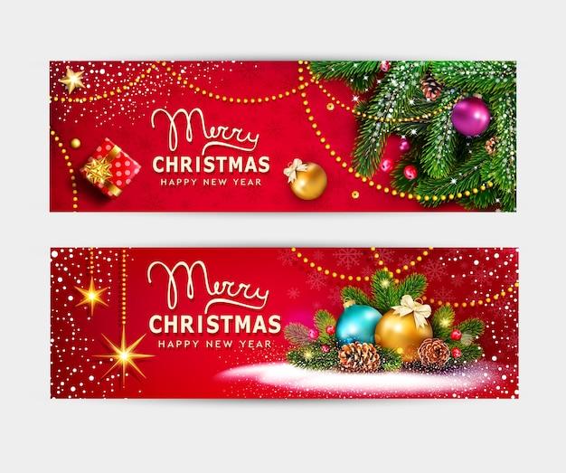 Cartão de feliz natal e feliz ano novo. bolas, ramos