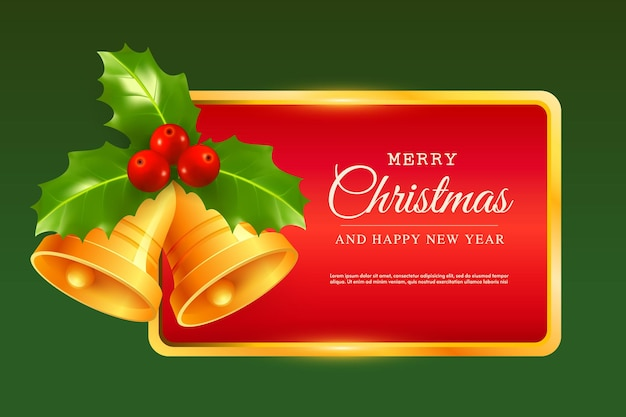 Cartão de feliz natal e feliz ano novo cartão postal de vetor com moldura vermelha e sinos