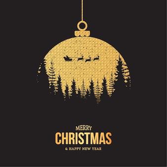Cartão de feliz natal e feliz ano novo com bola de natal