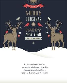Cartão de feliz natal e feliz ano novo com dois veados.