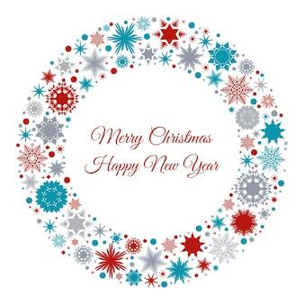 Cartão de feliz natal e feliz ano novo com flocos de neve vermelhos, azuis e cinza. ilustração vetorial para fundo de convite ou cartão postal.