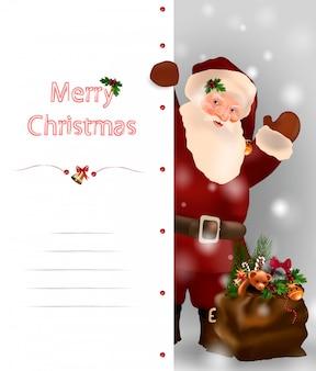 Cartão de feliz natal e feliz ano novo com o papai noel