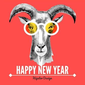 Cartão de feliz natal e feliz ano novo com retrato em aquarela de cabra hipster. ilustração em vetor desenhada à mão