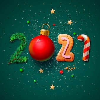 cartão de feliz natal e feliz ano novo de 2021