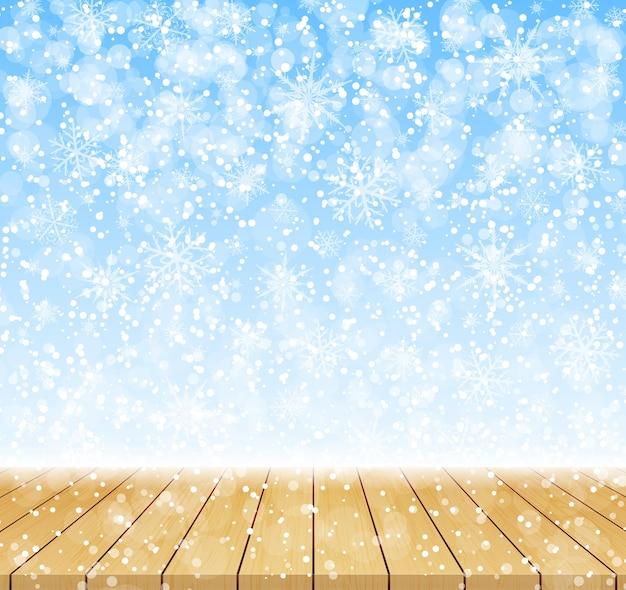 Cartão de feliz natal e feliz ano novo. fundo de inverno com neve e tampo da mesa de madeira. ilustração