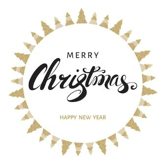 Cartão de feliz natal e feliz ano novo. letras de mão em fundo branco com abetos vermelhos dourados. ilustração vetorial.