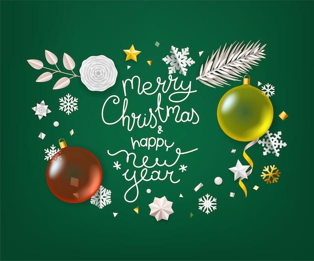 Cartão de feliz natal e feliz ano novo