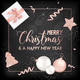 Cartão de feliz natal elegante com bolas de árvore de natal em ouro rosa, estrelas, presentes para convite, saudações ou folheto e folheto de ano novo 2019