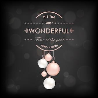 Cartão de feliz natal elegante com bolas de árvore de natal em ouro rosa para convite, saudações ou folheto e folheto de ano novo 2019