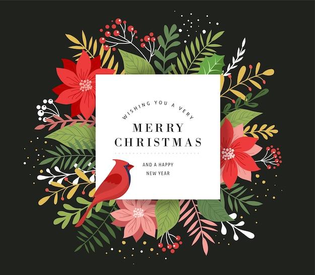 Cartão de feliz natal em estilo elegante, moderno e clássico com folhas, flores e pássaros