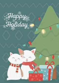 Cartão de feliz natal feliz celebração de gatos