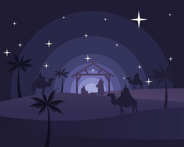 Cartão de feliz natal feliz com a sagrada família no estábulo e magos bíblicos em cena de silhueta de camelos