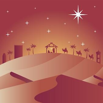 Cartão de feliz natal feliz com a sagrada família no estábulo e magos bíblicos em vetor de silhuetas de camelos