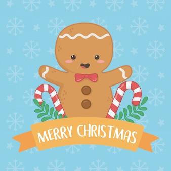 Cartão de feliz natal feliz com biscoito de gengibre