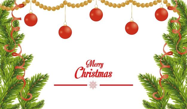 Cartão de feliz natal feliz com bolas penduradas e pinheiros
