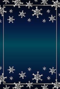 Cartão de feliz natal feliz com ilustração de moldura quadrada de flocos de neve de prata