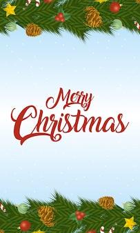 Cartão de feliz natal feliz com letras e frutos secos.
