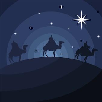 Cartão de feliz natal feliz com os magos bíblicos no design de ilustração vetorial de silhueta de camelos