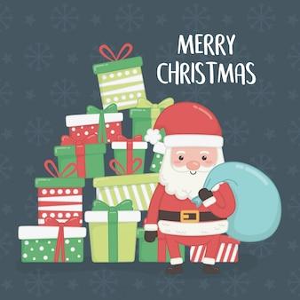 Cartão de feliz natal feliz com papai noel e presentes