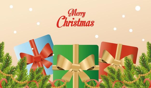 Cartão de feliz natal feliz com presentes e fitas douradas