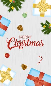 Cartão de feliz natal feliz com presentes e frutas secas.
