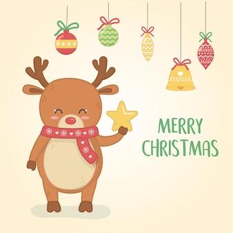 Cartão de feliz natal feliz com renas