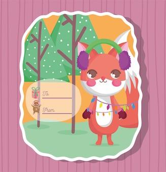 Cartão de feliz natal feliz esquilo