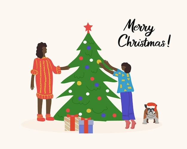 Cartão de feliz natal feliz família afro-americana a decorar a árvore de natal