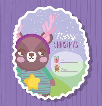 Cartão de feliz natal feliz urso