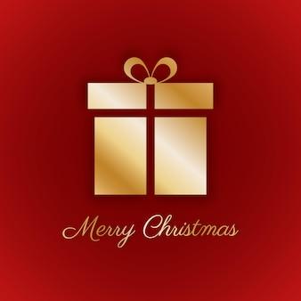 Cartão de feliz natal fundo vermelho com presente de ouro
